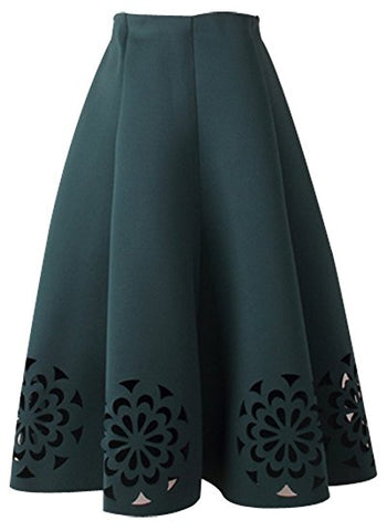 Women's cotton pleated skirt for winter A-line Knee-length skirt S08