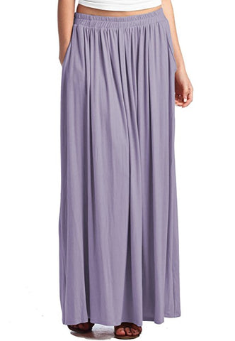 Women's elastic waist summer long skirt stretch spandex skirt S45