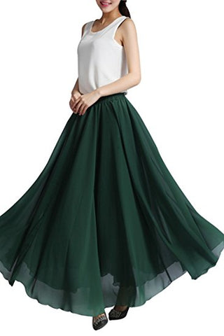 Women's elegant chiffon skirt long pleated skirt A-lines S32