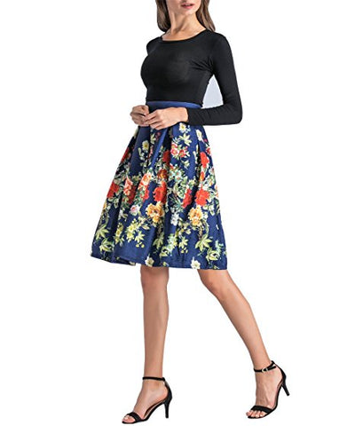 Women's floral Knee-length skirts A-lines elegant pleated skirt S10