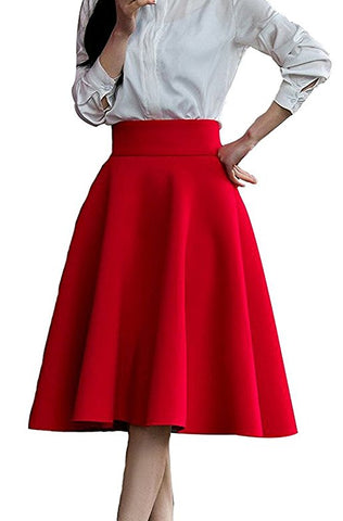 Women's high waist skirt pleated knee-length skirt with zipper S36