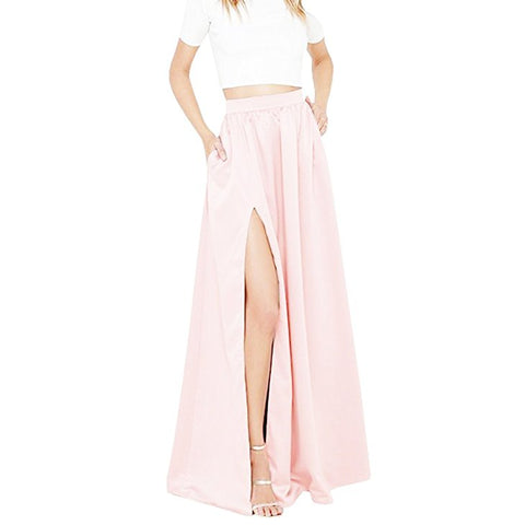 Women's high waist solid long skirt with slit S82