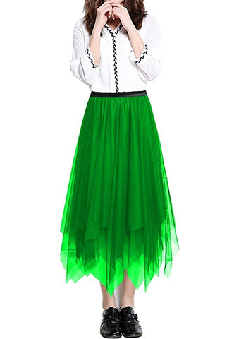 Women's tulle skirt asymmetric swing pleated skirt knee length S41