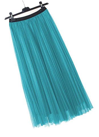 Women's vintage tutu skirt long pleated skirt A lines S47