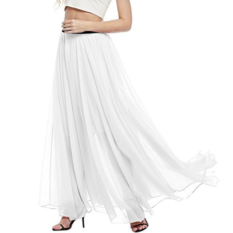 Women summer chiffon skirt high waist long pleated skirt S29