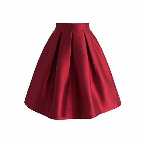 Women's A-line knee-length pleated skirt high waisted S58