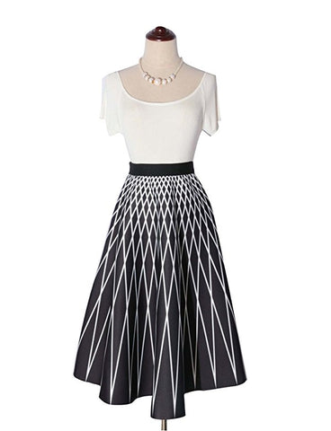 Womens A-line skirt skater pleated midi skirt S127
