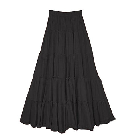 Women's boho long circle broomstick peasant skirt S51