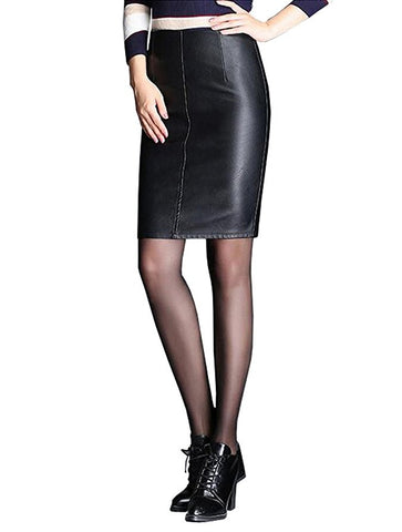 Womens faux leather pencil split knee-length skirt S116