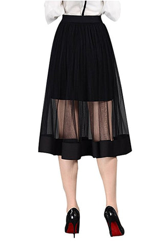 Womens knee-length black tulle tutu skirt S128