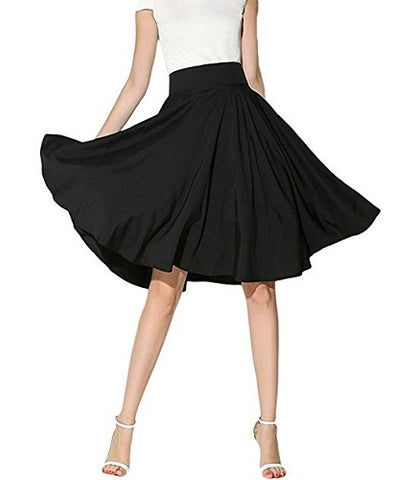 Women's knee length skirt retro pleated skirt A line S03