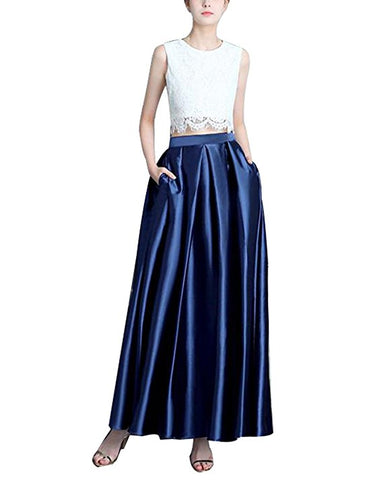 Womens pleated maxi long skirt width pocket S118