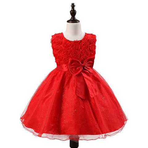 Organza round neck sleeveless floor length flower girl dresses D21