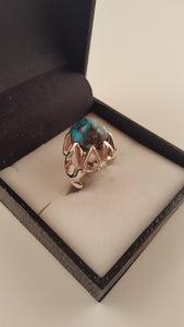 Dark Blue Turquoise (Fairouz) Silver Pinky Ring