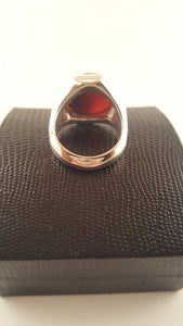 Chestnut Agate (Aqeeq) Multi-Faceted Silver Ring