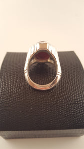 Pomegranate Red Agate (Aqeeq) Four Band Silver Ring
