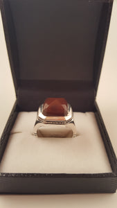 Chestnut Agate (Aqeeq) Tapered Cut Silver Ring