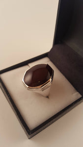 Dark Red Agate (Aqeeq) Silver Ring