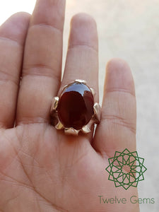 Najafi Style Agate (Aqeeq) Silver Ring