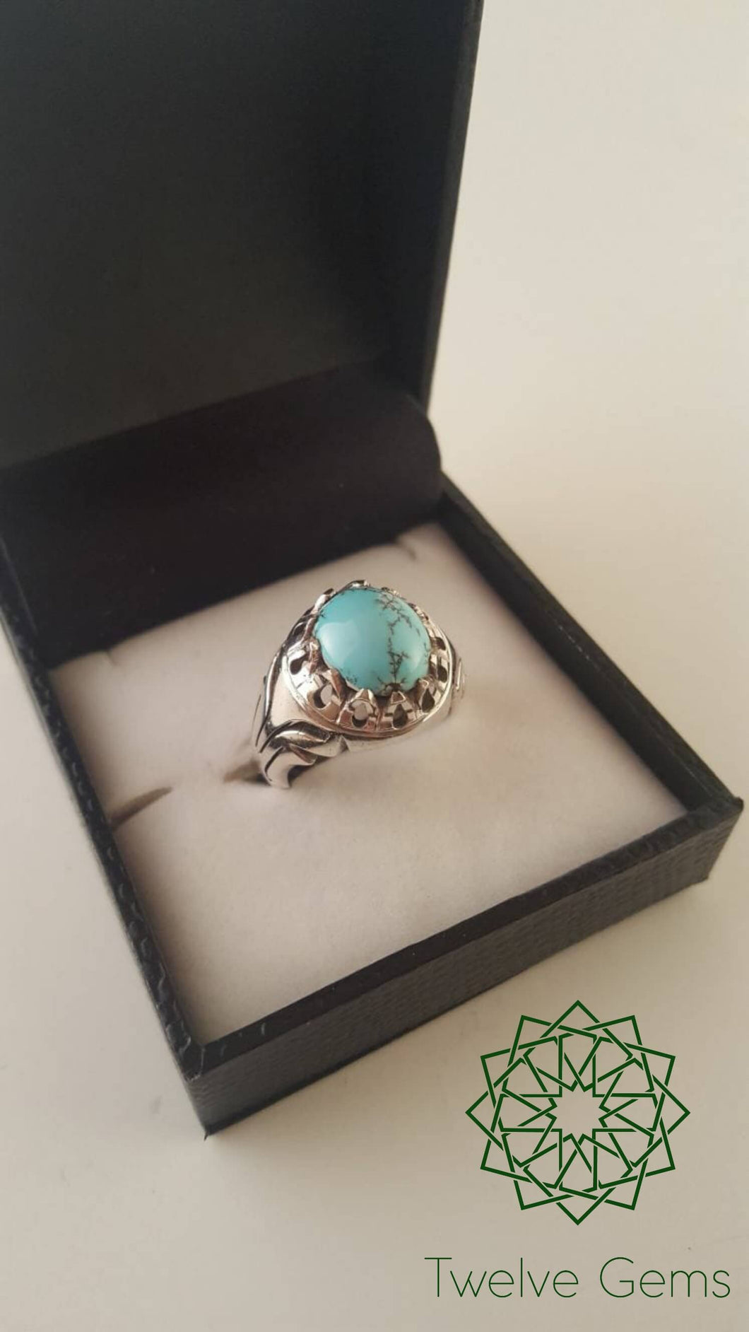 Blue Turquoise (Fairouz) with Matrix Silver Ring
