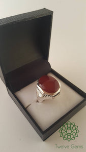 Large Red Agate Silver Ring