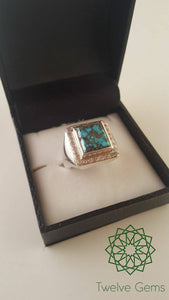 Square Turquoise (Fairouz) with Zirconia Silver Ring