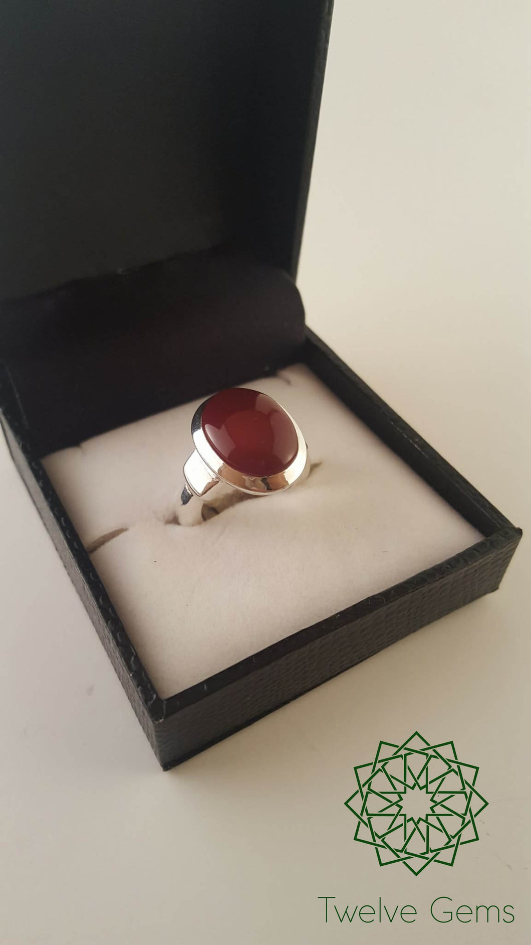 Red Agate Silver Ring