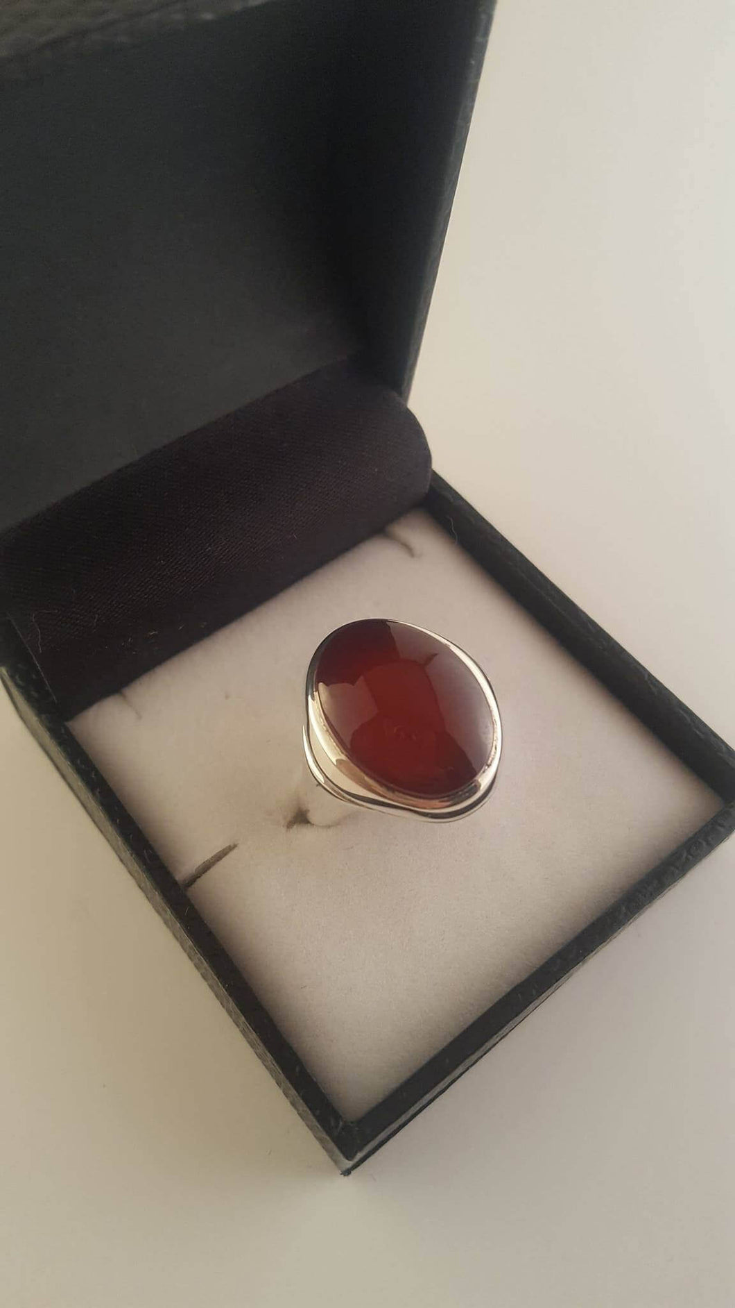 Cherry Red Agate (Aqeeq) Double Band Silver Ring