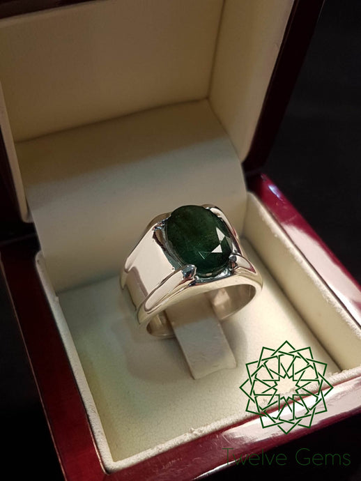 Oval Cut Emerald Silver Ring