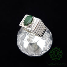 Emerald and Zirconia Silver Ring