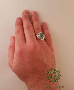 Blue Turquoise (Fairouz) with Peridots Silver Ring