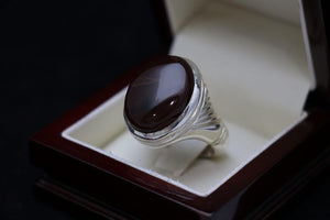 Cherry Red Agate with Saffron Line Silver Ring