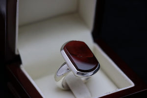 Agate with Saffron Lines Silver Ring