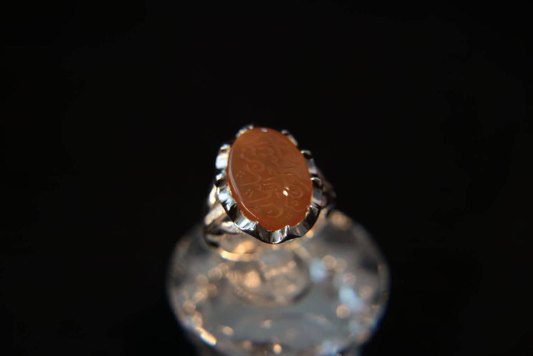 Orange Agate Silver Ring