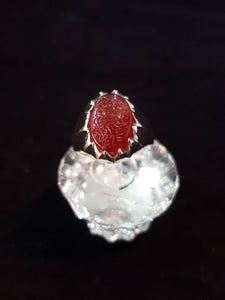 Red Engraved Agate Silver Ring