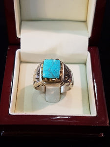Engraved Turquoise Silver Ring