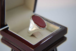 Pomegranate Red Agate Silver Ring