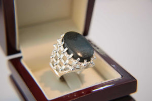 Engraved Hematite Silver Ring