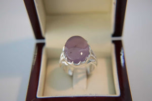 Purple Agate Silver Ring