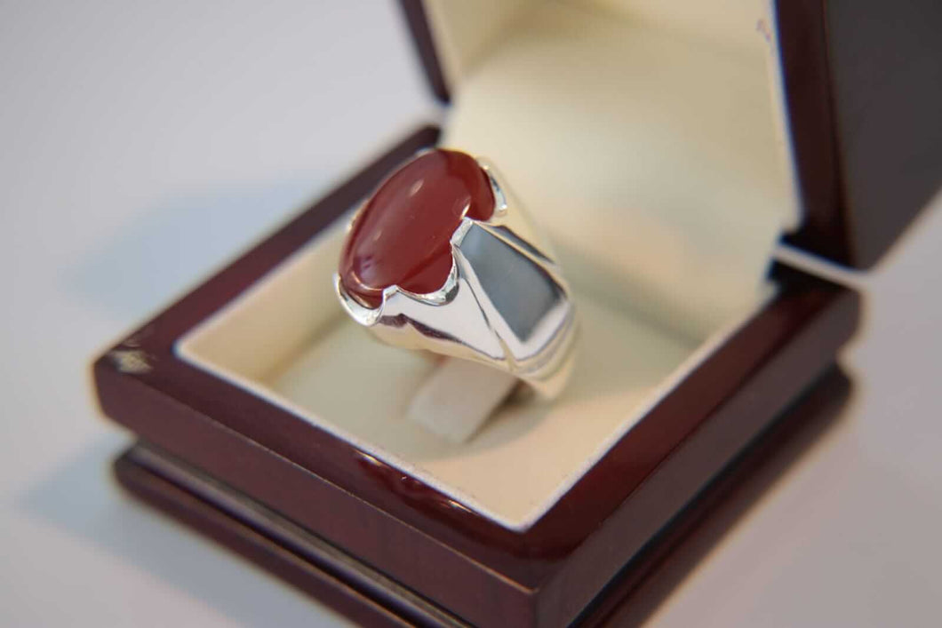 Cherry Red Agate Silver Ring
