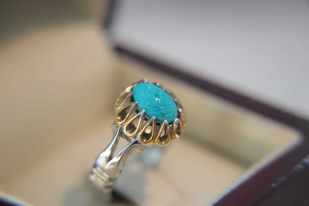 Women's Engraved Turquoise Silver Ring