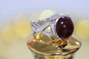 Cherry Red Agate (Aqeeq) Silver Ring