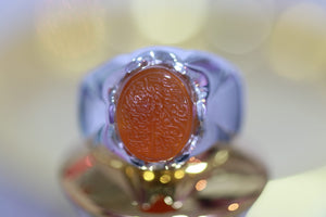 Orange Engraved Agate Silver Ring