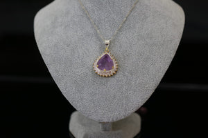 Amethyst and Cubic Zircon Silver Pendant