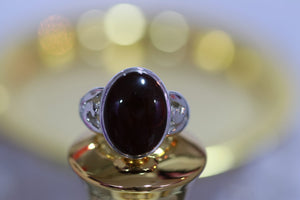 Dark Red Agate Stone Silver Ring