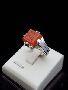 Square Orange Agate Silver Ring