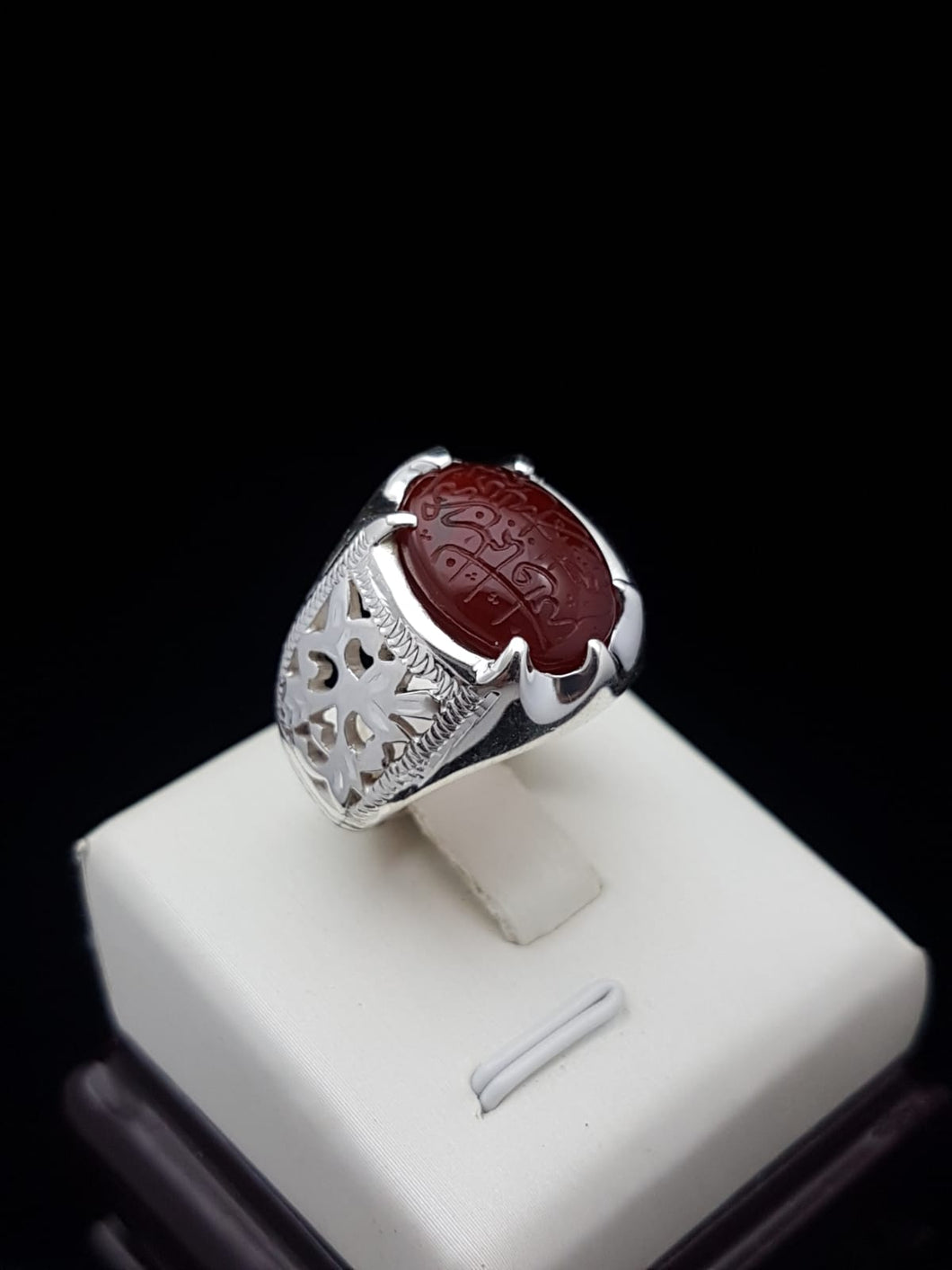 Dark Red Engraved Agate Silver Ring