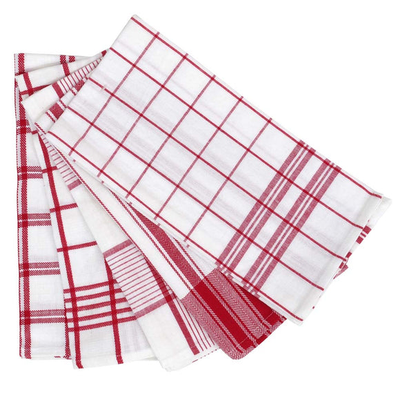5 Pack Tea-Towels 50x70cm Red