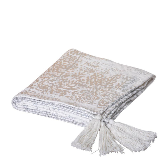 Vanna Foil printed Throw 125x150cm Silver/Off White