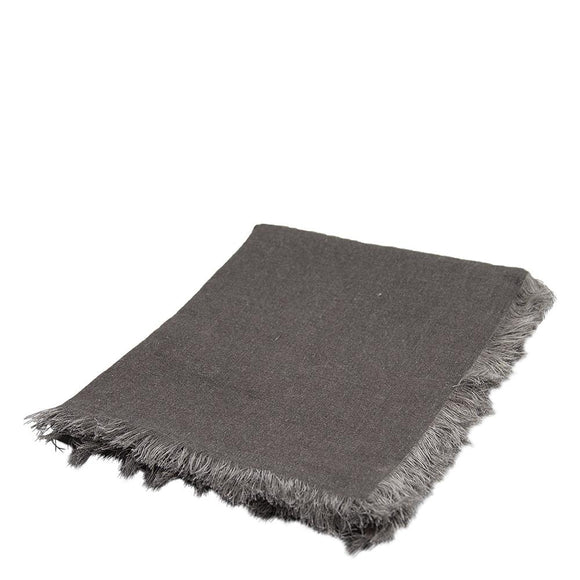 Mercer Linen Throw with fringes 125x150cm Charcoal